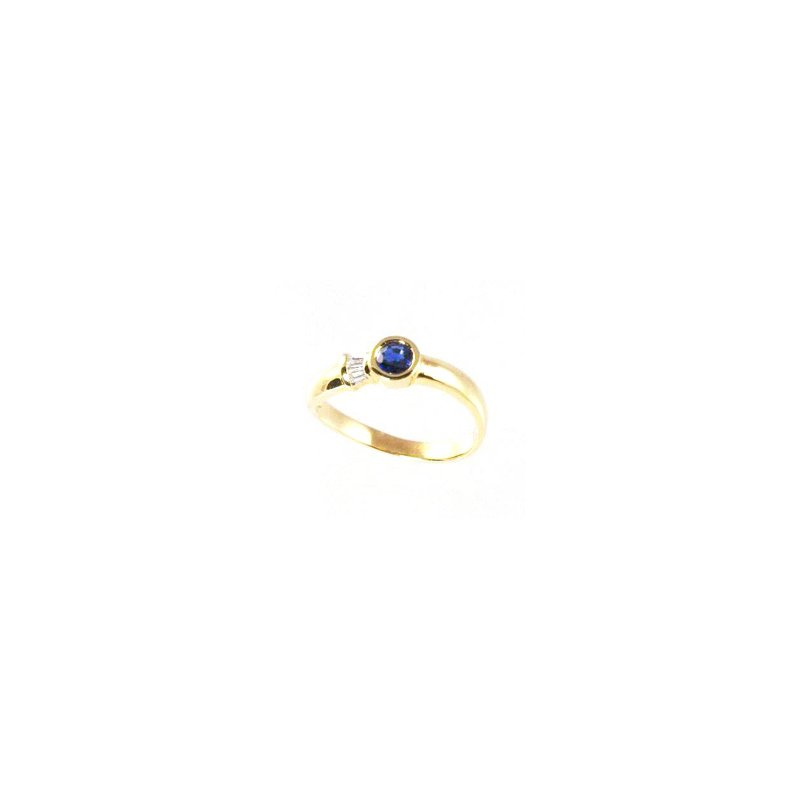 Signature Collection Genuine Blue Sapphire and Diamond Ring in 18k Yellow Gold - 08287S
