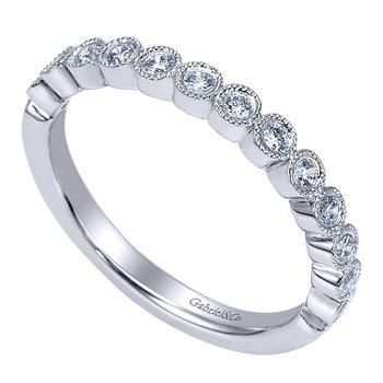 14k White Gold Bezel Set Beaded Diamond Wedding Band by Gabriel NY