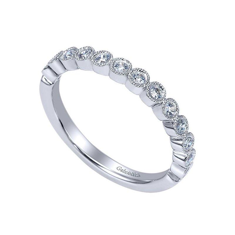 Gabriel NY 14k White Gold Bezel Set Beaded Diamond Wedding Band by Gabriel NY