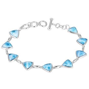 Sterling Silver Triangle Larimar Bracelet
