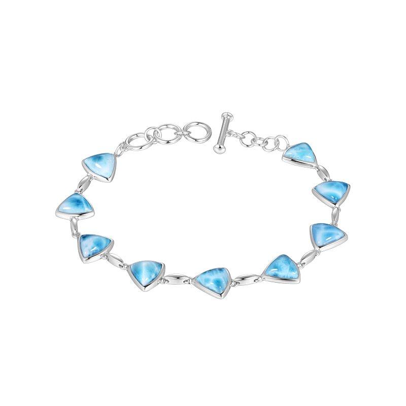 Alamea Larimar  Sterling Silver Triangle Larimar Bracelet