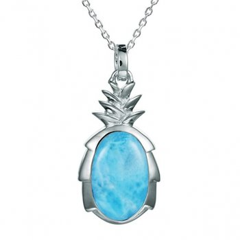 Sterling Silver Pineapple Pendant with inlaid Larimar