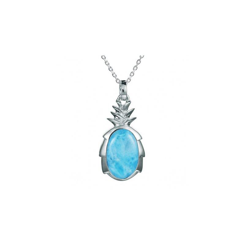 Alamea Larimar  Sterling Silver Pineapple Pendant with inlaid Larimar