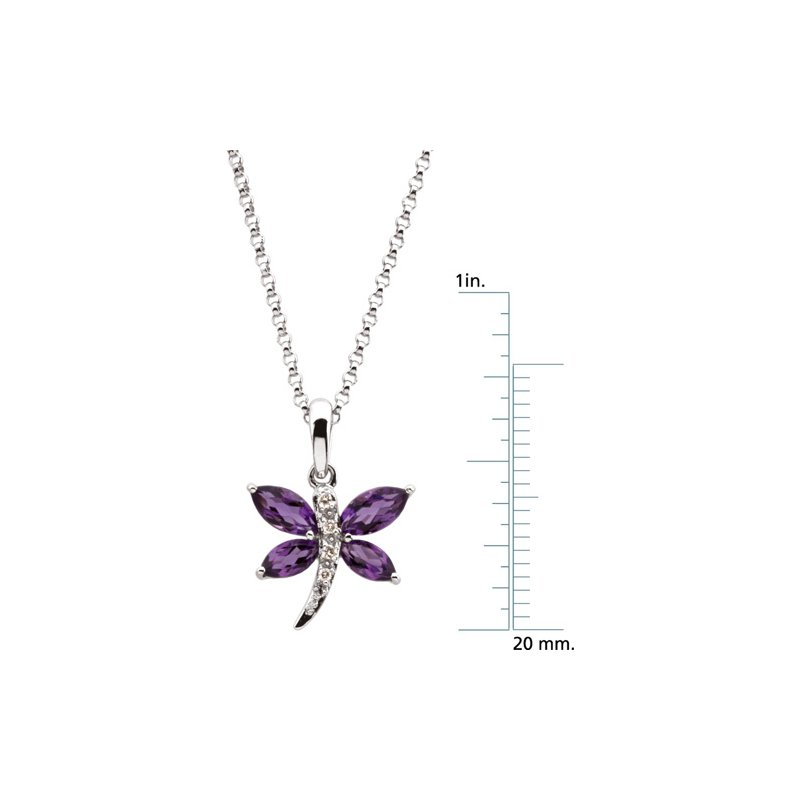 Signature Collection Genuine Amethyst & Diamond Dragonfly Necklace