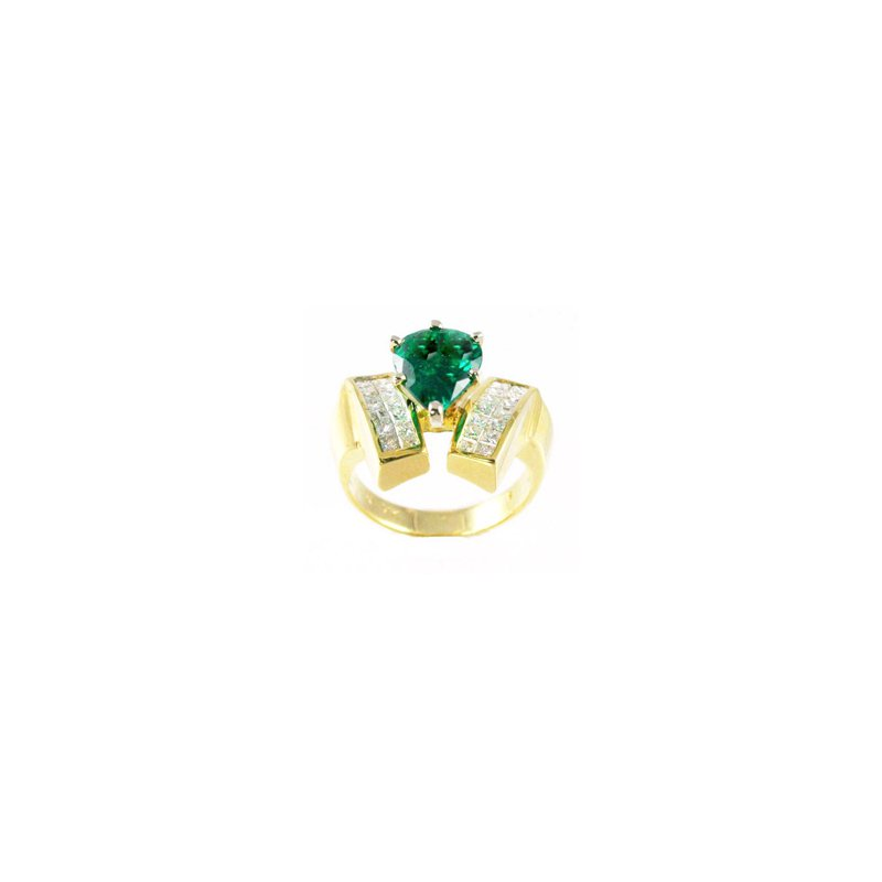 Signature Collection Genuine Emerald and Diamond Ring in 18k Yellow Gold - 25625