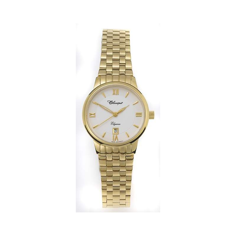 Swiss Watches Classique Ladies' Stainless Steel Gold Plated Swiss Quartz Watch - #28-102G