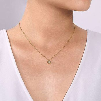 14k Yellow Gold Round Diamond Pave' Cluster Pendant with Rope Frame by Gabriel NY