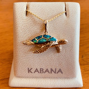 Kabana 14k Yellow Gold Australian Opal Inlay Turtle Pendant