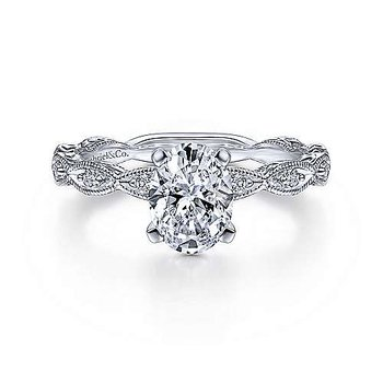 Gabriel NY 14k White Gold Oval Center Vintage Style Engagement Ring