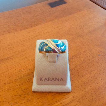 Kabana Australian Opal Inlay and Diamond Ring
