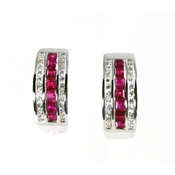 18k White Gold Ruby and Diamond Hoop Earrings - #31935
