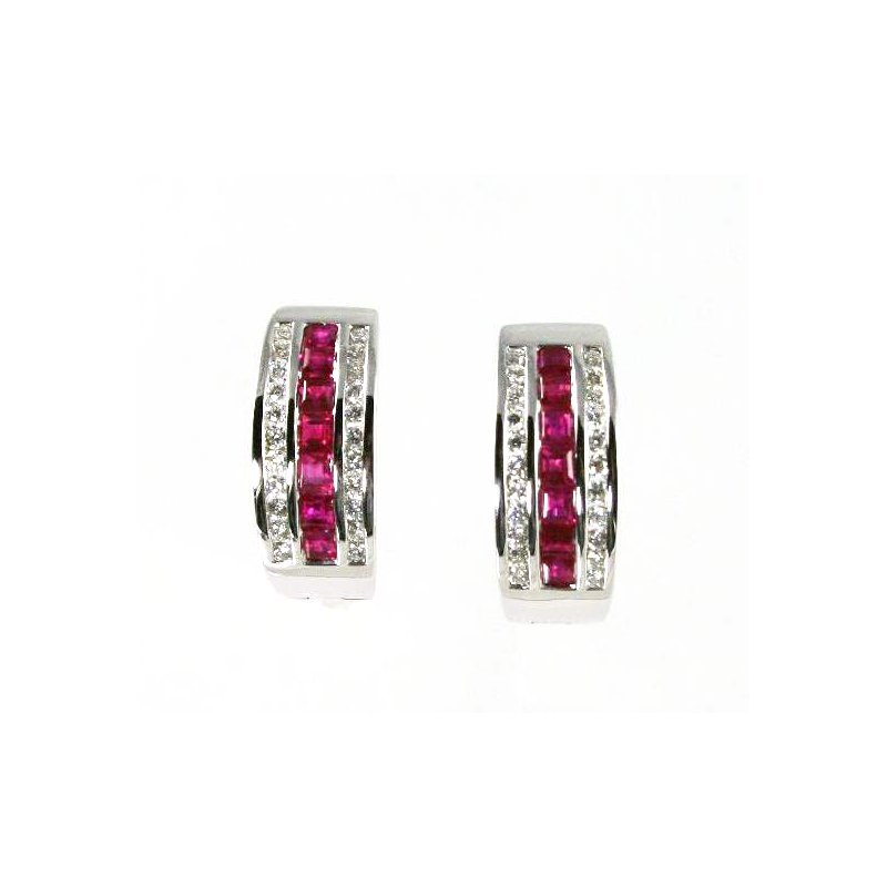 Signature Collection 18k White Gold Ruby and Diamond Hoop Earrings - #31935