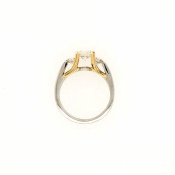 18k White and Yellow Gold 3-Stone Diamond Ring