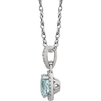 14k White Gold Genuine Aquamarine Cushion Diamond Halo Necklace