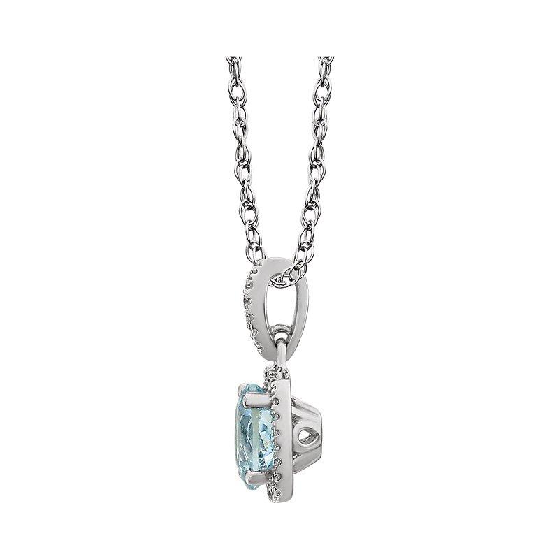Signature Collection 14k White Gold Genuine Aquamarine Cushion Diamond Halo Necklace