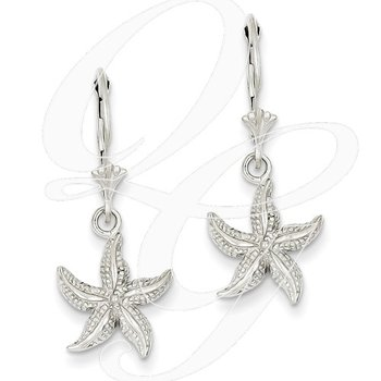 Quality Collection Sealife 14k White Gold Textured Leverback Starfish Earrings