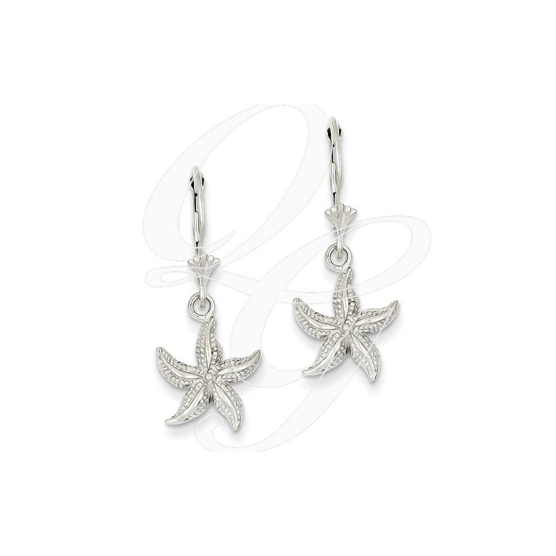 Sealife Jewelry Quality Collection Sealife 14k White Gold Textured Leverback Starfish Earrings
