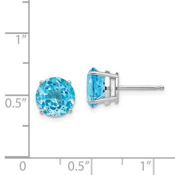 14k White Gold 8mm Round Blue Topaz Stud Earrings