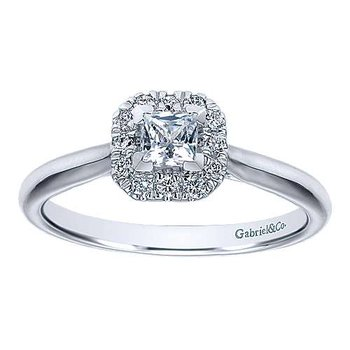 Adore Collection by Gabriel  NY - 14k White Gold Princess Halo Engagement Ring