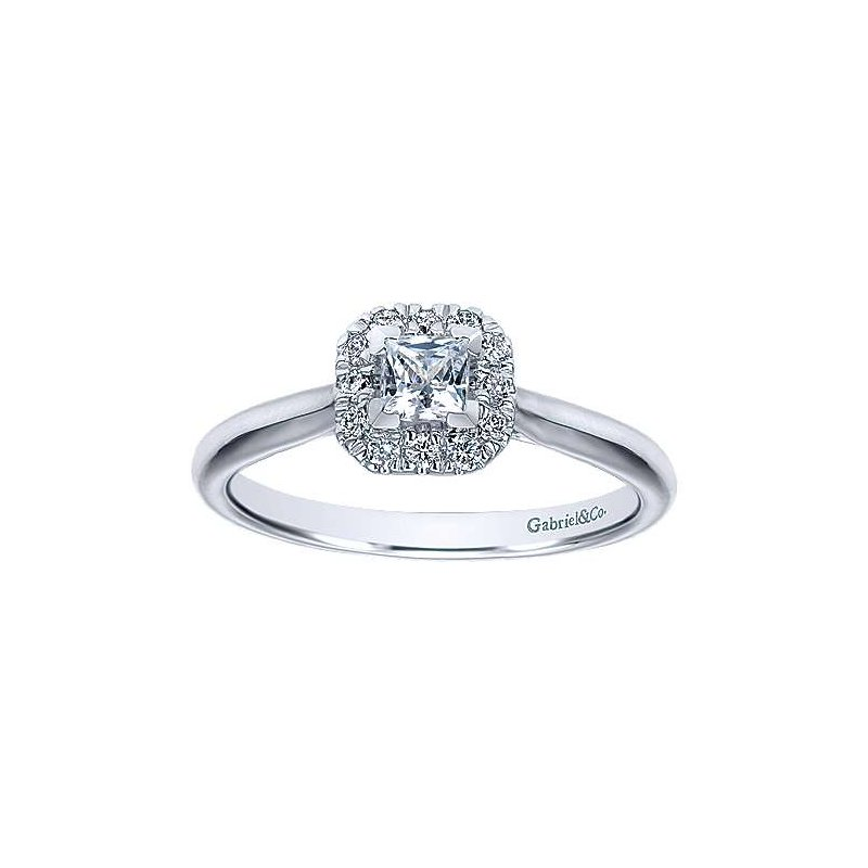Gabriel NY Adore Collection by Gabriel  NY - 14k White Gold Princess Halo Engagement Ring