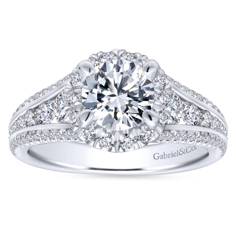Gabriel NY 14k White Gold Round Halo Engagement Ring by Gabriel NY