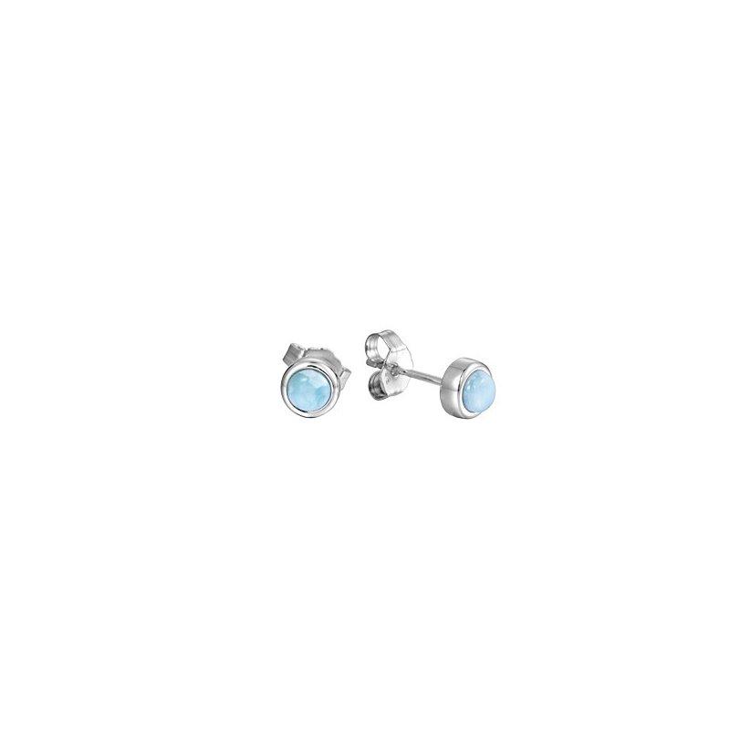 Alamea Larimar  Sterling Silver 6mm Round Larimar Stud Earrings