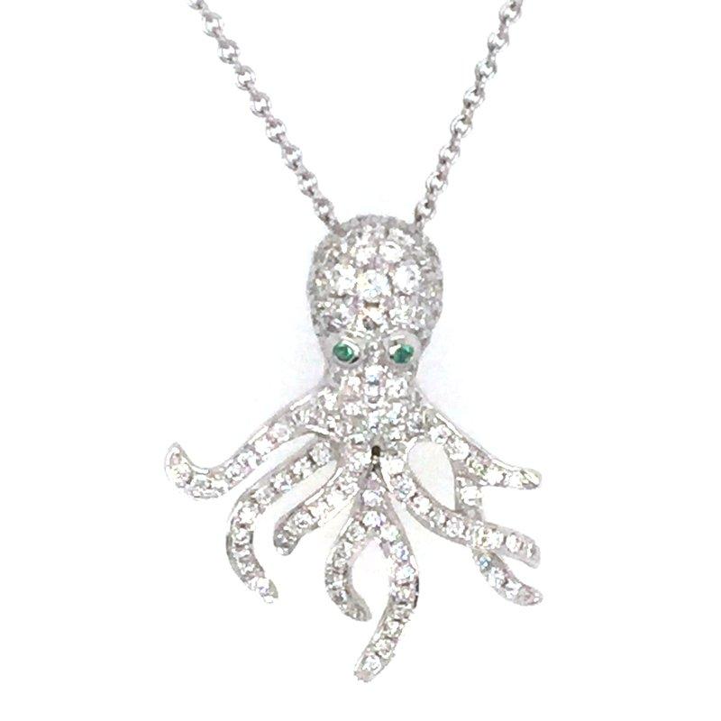 Sealife Jewelry 18k White Gold Diamond & Emerald Octopus Pendant