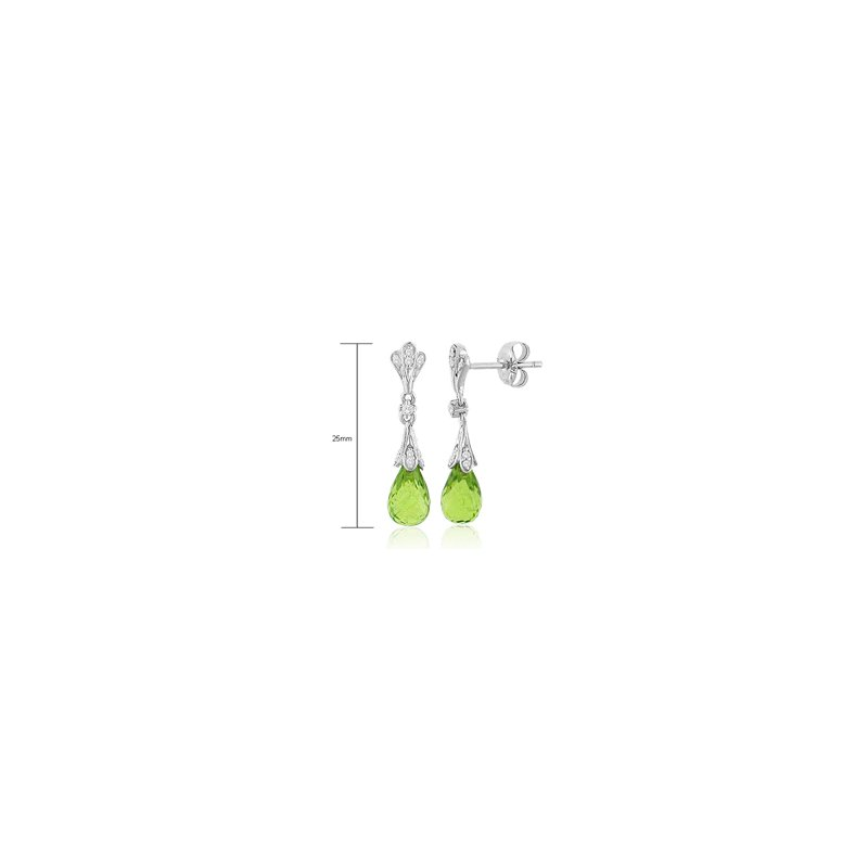 Signature Collection Genuine Peridot & Diamond Earrings in 14k White Gold