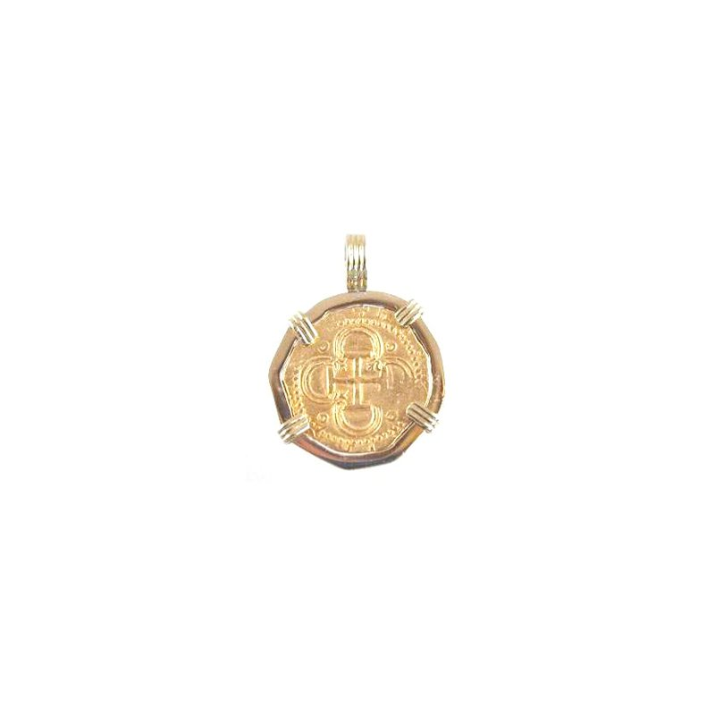 Coin Jewelry Genuine Spanish 2 Escudo Gold Cob Coin framed in 18k Yellow Gold