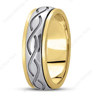 Unique Settings HM284 - 14k White Gold Handmade Celtic Design 7mm Men's Wedding Band