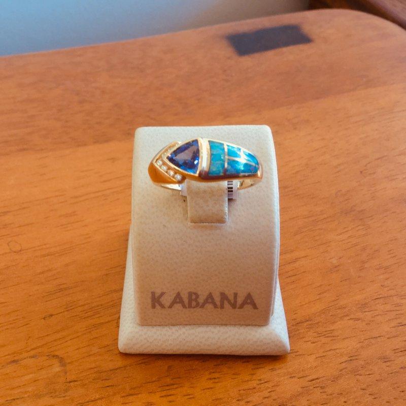 Kabana Jewelry Kabana Australian Opal, Trillion Tanzanite and Diamond Ring - #34507