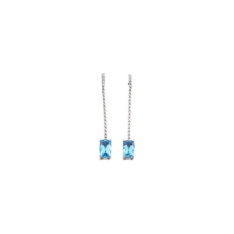 Signature Collection Genuine Swiss Blue Topaz & Diamond Earrings