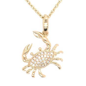 14k Yellow Gold Diamond Crab Pendant