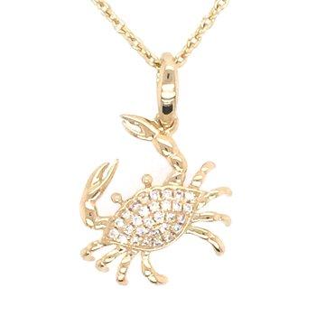 14k Yellow Gold Diamond Crab Pendant
