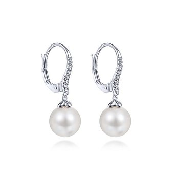 14k White Gold Drop Cultured Pearl Earrings by Gabriel NY - Style #EG13693W