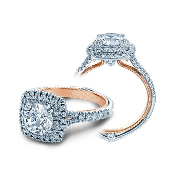 Verragio Couture 0425CU-PLT - TT - 18k White and Rose Gold Cushion Double Halo Diamond Engagement Ring by Verragio