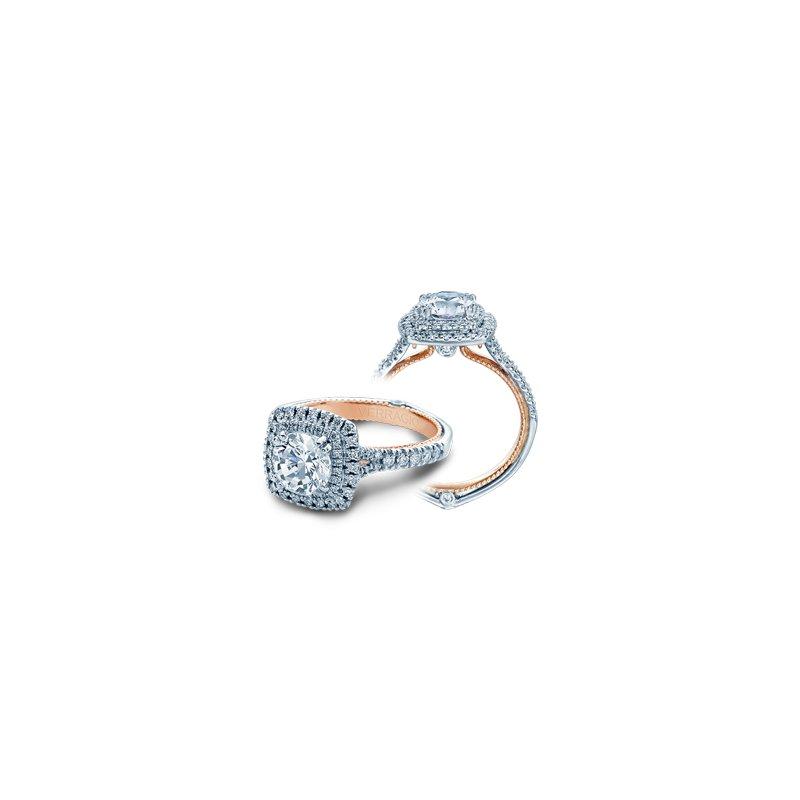 Verragio Verragio Couture 0425CU-PLT - TT - 18k White and Rose Gold Cushion Double Halo Diamond Engagement Ring by Verragio