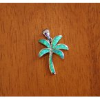 Kovel Sealife Sterling Silver and 18k Gold Plate Palm Tree Pendant with Kyocera Lab Created Synthetic Opal.