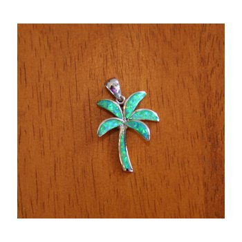 Sterling Silver and 18k Gold Plate Palm Tree Pendant with Kyocera Lab Created Synthetic Opal.