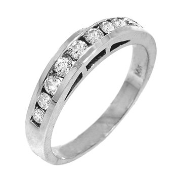 14k White Gold Cathedral Channel Set Diamond Band - #37118