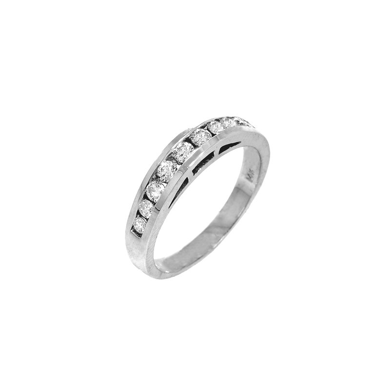 Signature Collection 14k White Gold Cathedral Channel Set Diamond Band - #37118