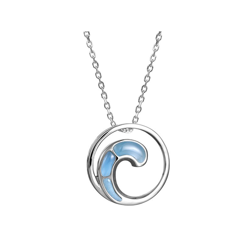 Sealife Jewelry Sterling Silver Larimar Wave Pendant