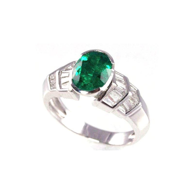 Signature Collection 18k White Gold Oval Emerald and Baguette Diamond Ring - #26101