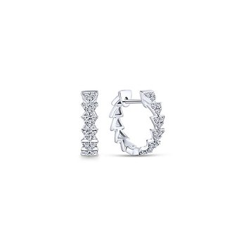 14k White Gold Stacked Triangle Diamond Huggie Earrings by Gabriel NY - Style #EG13459W