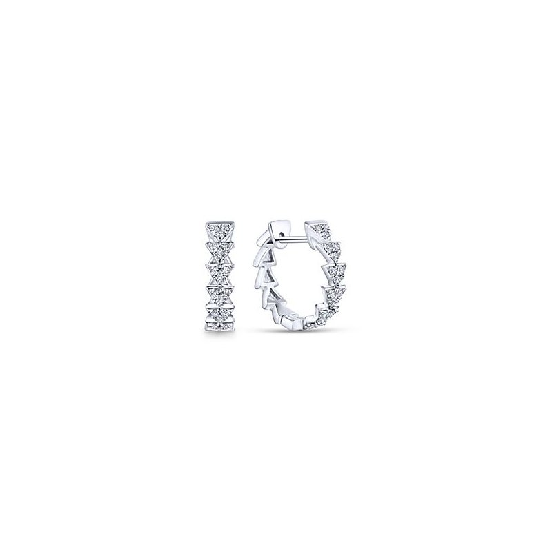 Signature Collection 14k White Gold Stacked Triangle Diamond Huggie Earrings by Gabriel NY - Style #EG13459W