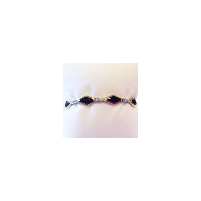 Signature Collection 14k White and Yellow Gold Black Onyx and Diamond Bracelet - #34533
