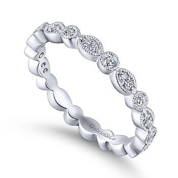 14k White Gold Eternity Diamond Stackable Ring by Gabriel NY - Style # LR5701E
