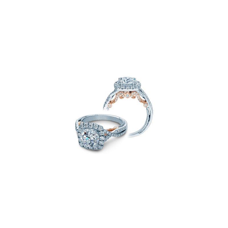 Verragio Verragio Insignia-7086CU-TT-PLT - Platinum and Rose Gold Cushion Halo Style Diamond Engagement Ring by Verragio