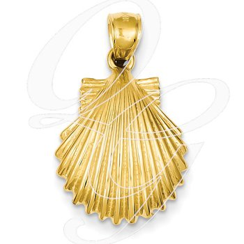 Quality Collection Sealife 14k Yellow Gold Textured Scallop Shell Pendant