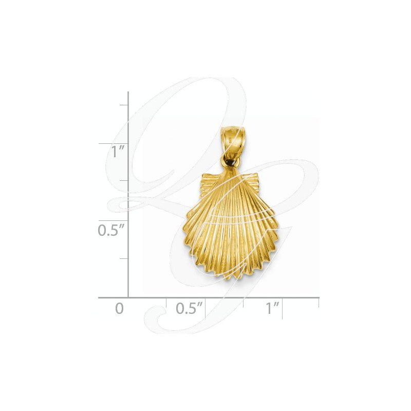 Sealife Jewelry Quality Collection Sealife 14k Yellow Gold Textured Scallop Shell Pendant